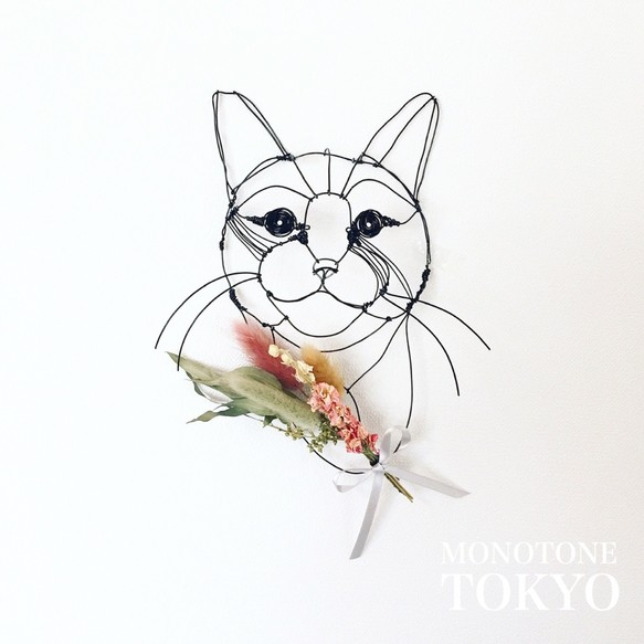 Wire Wall Art Bouque (猫と花)